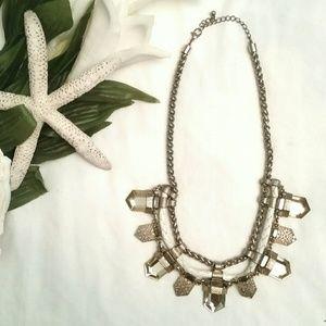 *Art Deco Metal Gem Necklace*